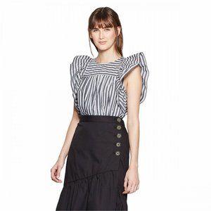 NWT Who What Wear Striped Babydoll Top XL Black